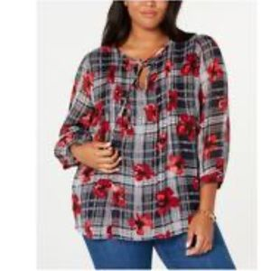 Tommy Hilfiger Pin Tuck Universal Flower Blouse